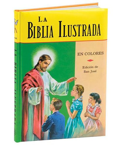 The La #Biblia Ilustrada from #Catholic #Book Publishing presents more than 100 Catholic Bible stories for boys and girls in Spanish. The first part treats the Old Testament from Adam to Christ and narrates the most significant events in God's dealings with #humanity during that time. The second part contains sixty beautiful New Testament stories about the life and teachings of Jesus. Also includes a historical timeline of events during the Old Testament era.(sku B-436/22S)