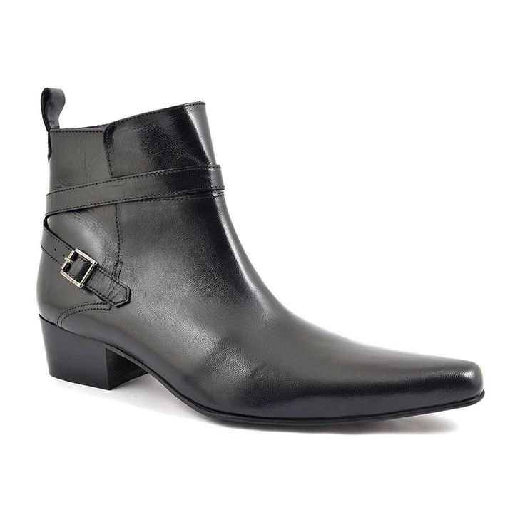 Mens black buckle cuban heel boots, winkle pickers. A pointed toe heeled boot for original men to rock out in. Cuban heel boots with designer touches £89.95