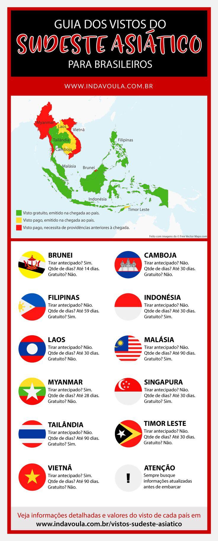 Vistos de turismo para brasileiros no sudeste asiático - Infográfico! Saba tudo sobre os vistos para Tailândia, Indonésia, Laos, Camboja, Vietnã, Malásia, Myanmar, Singapura, Filipinas, Brunei e Timor Leste.