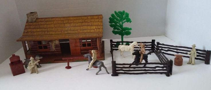 VINTAGE 1950' MARX TIN METAL LITHO CABIN BAR M RANCH & FENCE ACCESSORIES FIGURES #LouisMarx