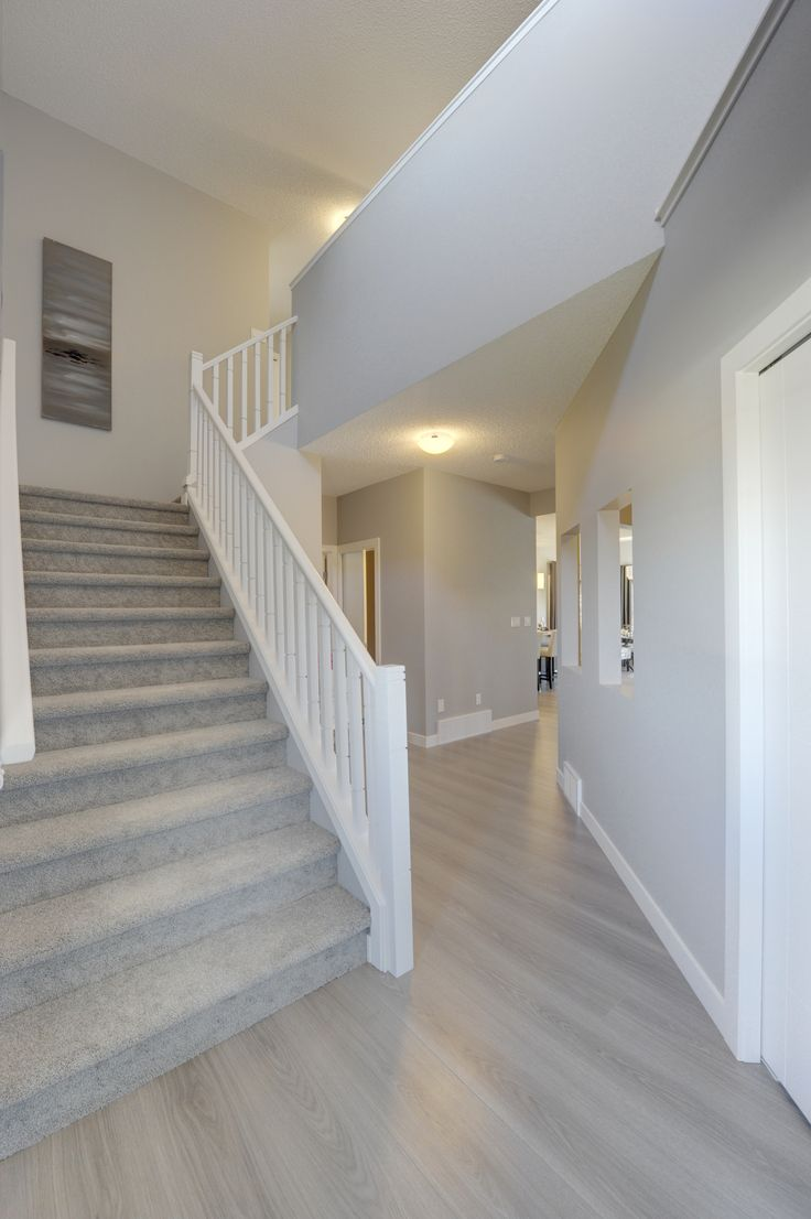 The foyer in this home is bright and open. Head up the stairs to the open bonus room on the upper floor, or straight ahead to the open concept living area. The grey wide plank laminate flooring keeps this home feeling fresh and is resistant to wear and tear. The stairs are lined with a white painted poplar railing.