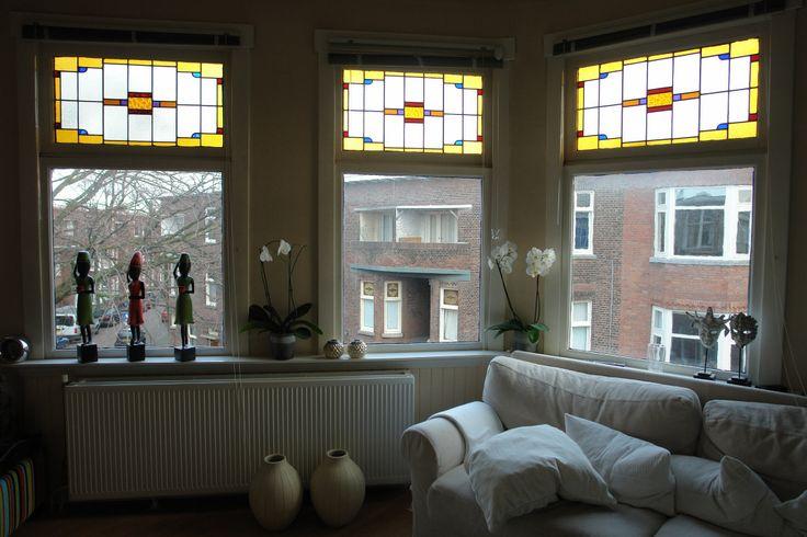 Glas in lood ramen woonkamer