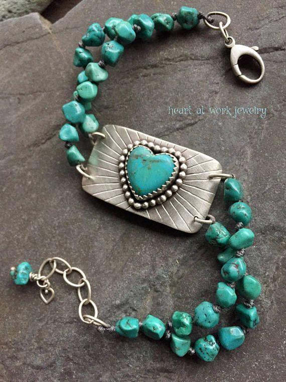 Beautiful turquoise heart bracelet. #commisonlink #heart #jewelry
