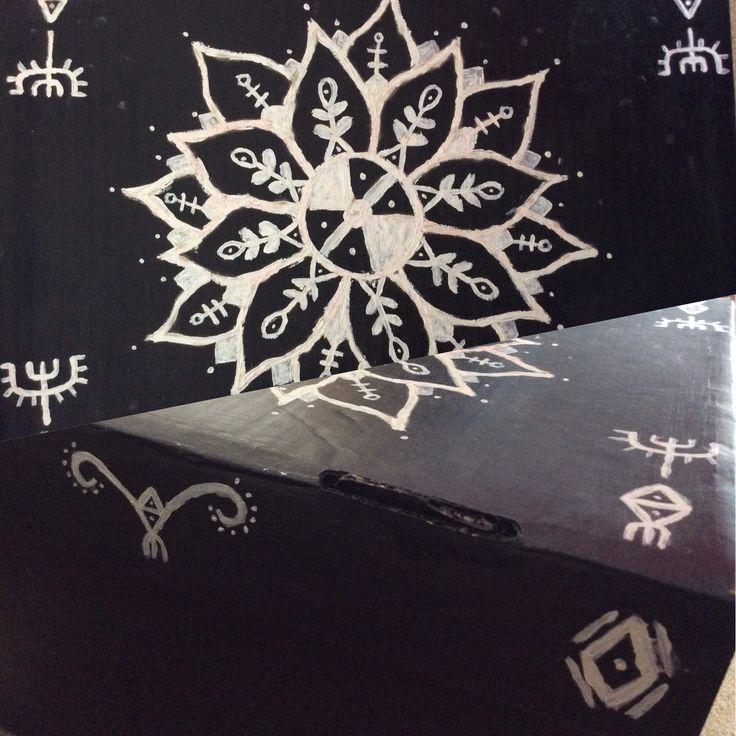 Hand painted mandala design on shoe box