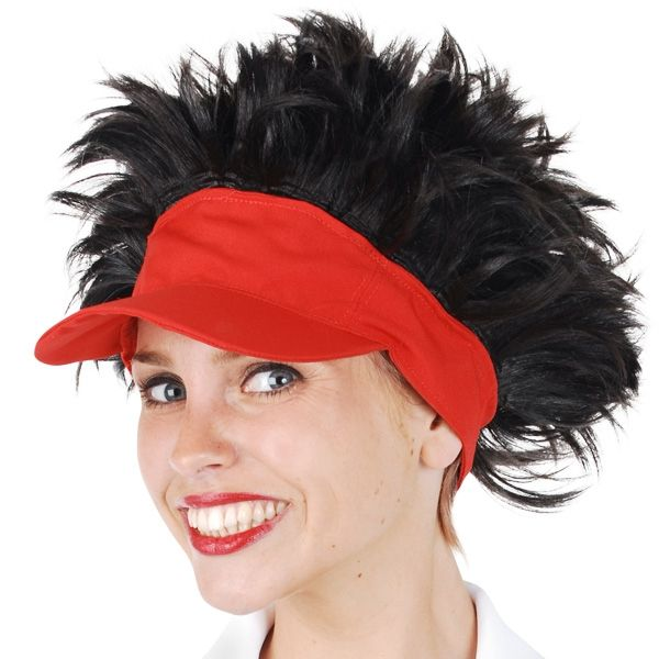 Let's Party With Balloons - Tennis Visor Red with Brown Hair, $20.00 (http://www.letspartywithballoons.com.au/tennis-visor-red-with-brown-hair/)