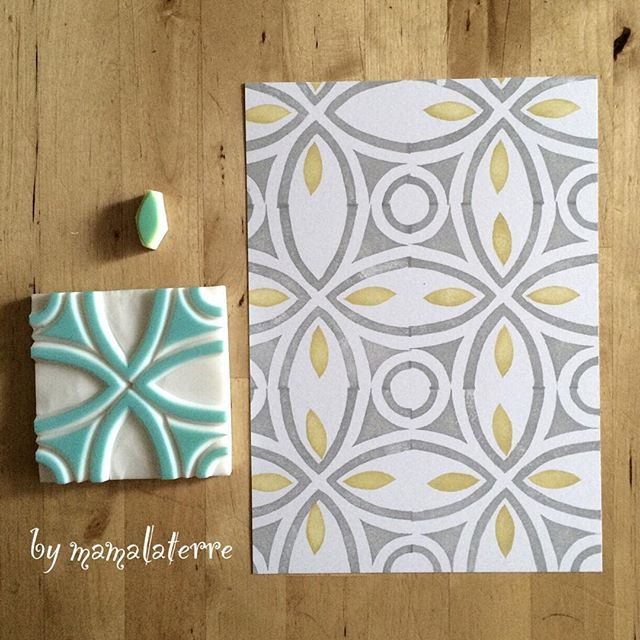 Try making a similar stamp for the table runner 2 Fabric printing block stamp no.5 #bymamalaterre