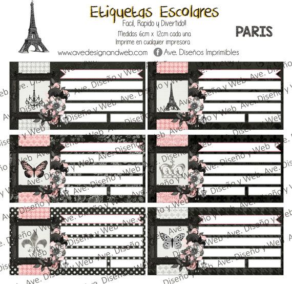 Paris Etiquetas para cuadernos Paris por AVeDisenoImprimible