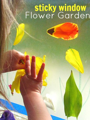 Bring your garden inside with a sticky mural! Fun flower activity for kids. By Allison McDonald. she did this with her 2 year old. You will need some contact paper, painter's tape, scissors and flowers or other bits of nature. Great idea for bouquets of flowers before you'd throw them away anyway.