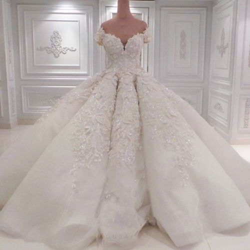 Luxury-Puffy-Wedding-Dresses-Lace-Beaded-Bridal-Ball-Gown-Cathedral-Train-Custom
