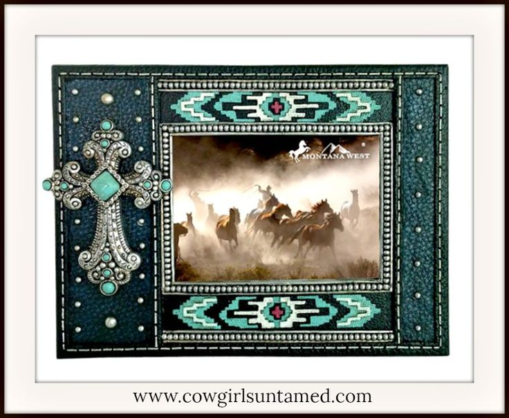 SPIRITUAL COWGIRL HOME DECOR Turquoise and Silver Cross Western Photo Frame  #beautiful #homedecor #frame #westerndecor #Cross #photoframe #pictureframe #turquoise #Home #decorating #teal #silver #style #Western #southwestern #gift #wedding #shoppingonline #shopping