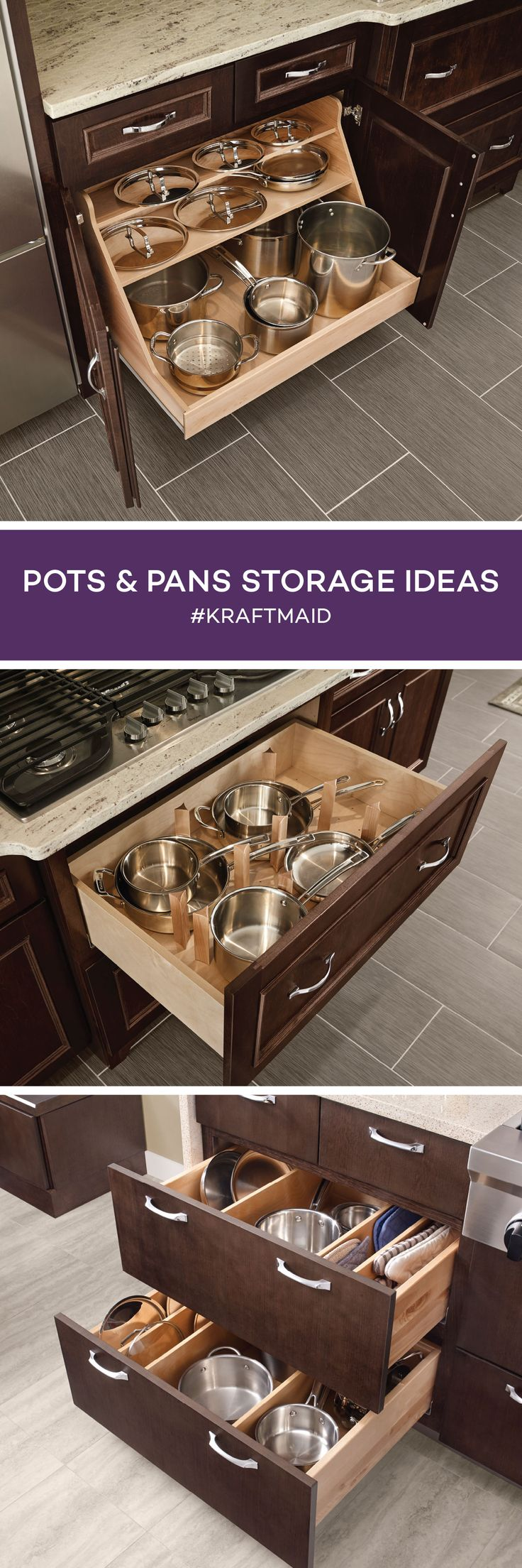 Keep your pots and pans organized near your stovetop and oven. Plus, there's no more fishing for a lid in the back thanks to the full extension.