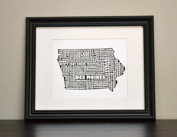 IOWA Cities Collage State Print Customize or Choose by bandaprints, $12.50: Diy Ideas, Collage State, State Print, Iowa Cities, Gift Ideas, Cities Collage, Print Customize, U.S. States