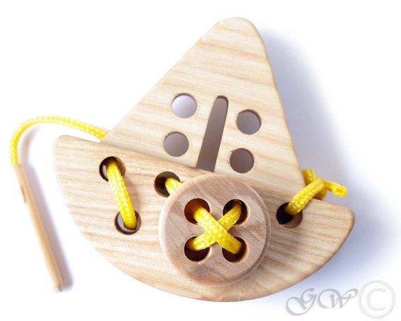 Wooden Lacing Toy Wooden Ship Toy Natural Organic by GreenWoodLT, $15.00