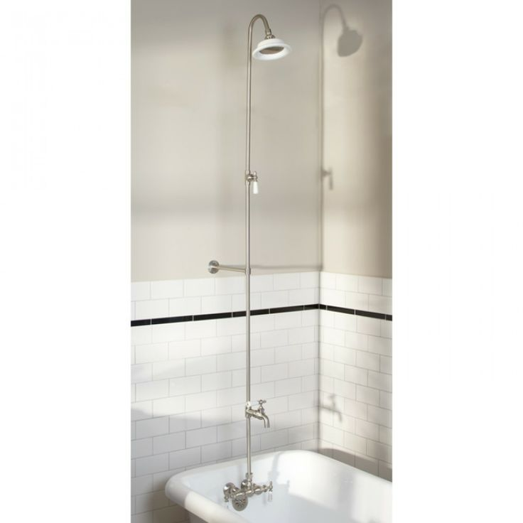 Wall Shower Set With Exposed Pipe Riser And Tub Filler