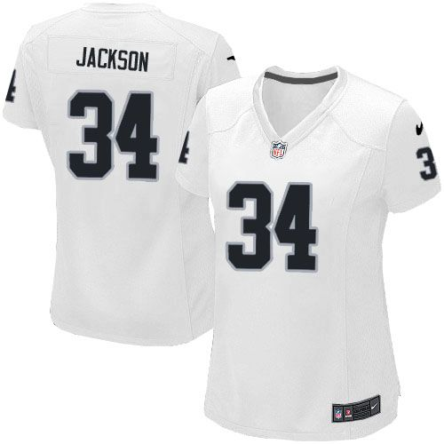 Women Nike Oakland Raiders #34 Bo Jackson Limited White NFL Jersey Sale