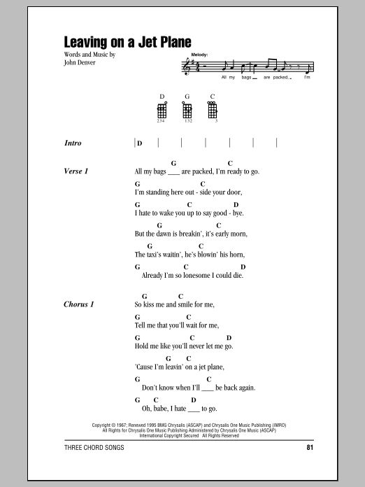 easy ukulele john denver free | ... score, you will need to install the free Scorch sheet music viewer
