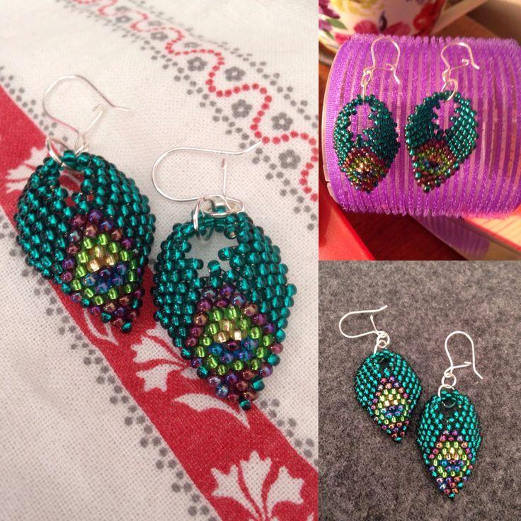 I made.... Peacock inspired #Russian-leaf #diagonal-peyote
