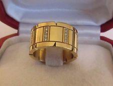 . Cartier Damas de 18 quilates chapado En Oro Amarillo Diamante banda Anillo.