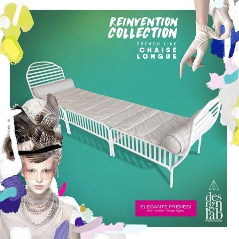 """Re-Invention – Chaise Longue  La chaise longue o """"fauteuil lit"""" como también se le conoce, fue una pieza creada bajo el reinado de Louis XV y significa literalmente silla larga o sillón cama. Estaba constituida por dos o tres partes tapizadas, el extremo de la cabeza tenía el respaldo y los laterales, la segunda parte era un taburete bajo la misma altura que la tercera parte que constituía el pie. #Elegantefrenesi #DesignLabES #Reinvention #MasquealquilarMuebles"""