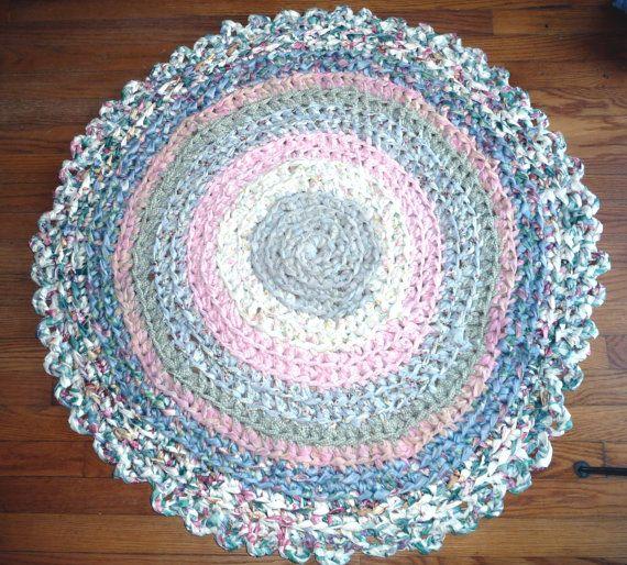 "Handmade Crochet Rug Pink Rug Pink Carpet Nursery: Handmade Cotton Crochet Rag Rug Large Round 42"" Blue Pink"