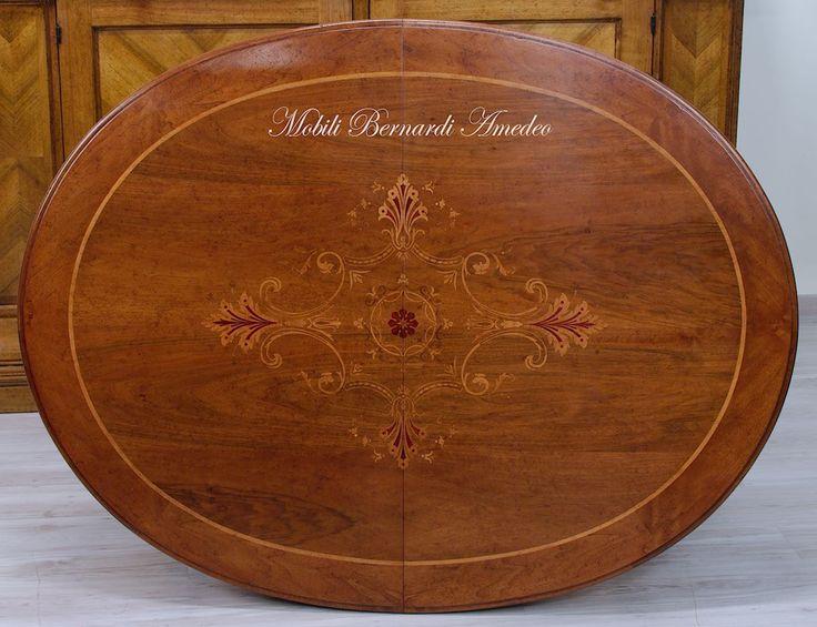 Piano per tavolo ovale allungabile in noce intarsiato