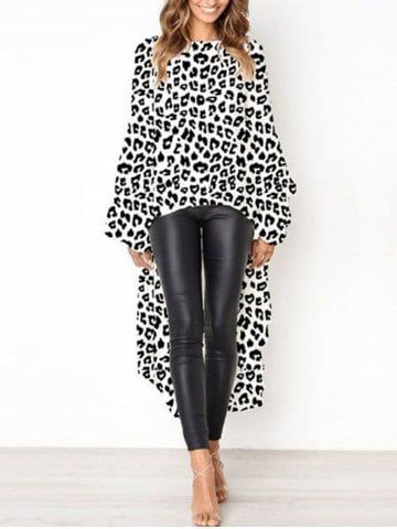e2a72bae07239 Shop for ✿ 58% OFF ✿ 2019 2018 Womens Leopard Print Asymmetrical Long  Sleeved Dress Ruffle Dinner Dress in WHITE