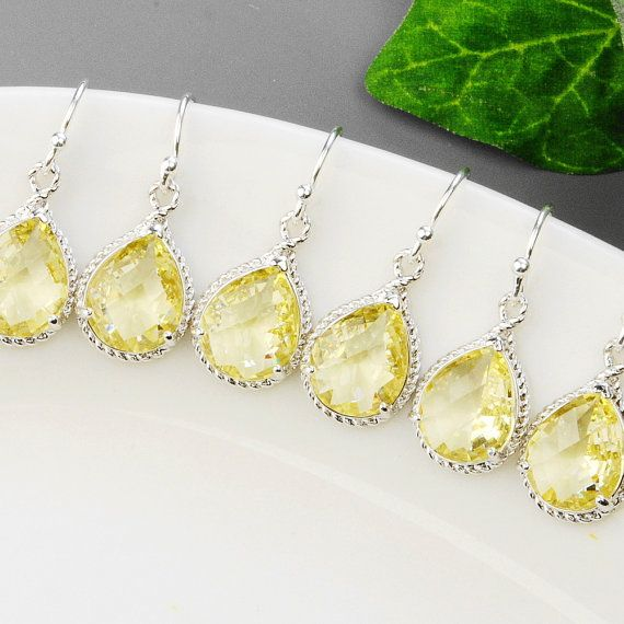 Jonquil yellow bridesmaid earrings.  A beautiful pair of earrings for your bridesmaid jewelry. SET OF 4 Wedding Jewelry  Yellow by MyDistinctDesigns