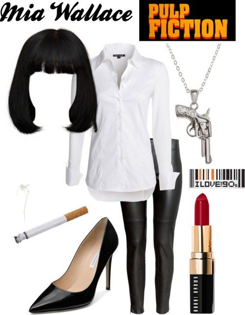 Mia Wallace - Pulp Fiction - '90s #typeacon Party Fashion via @typeaparent by @coloradomoms                                                                                                                                                                                 Más