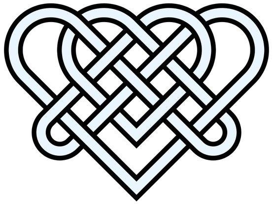 Double-cœur - Nœud celtique à 14 croisements. Plus