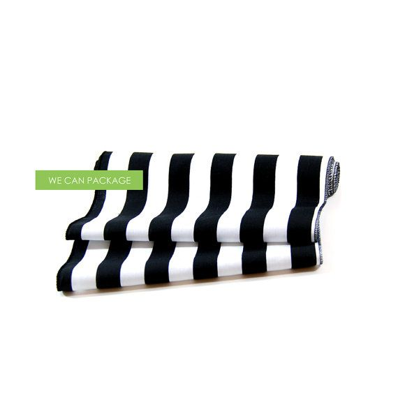 Black and White Striped Table Runner 12 x 96 by wecanpackage
