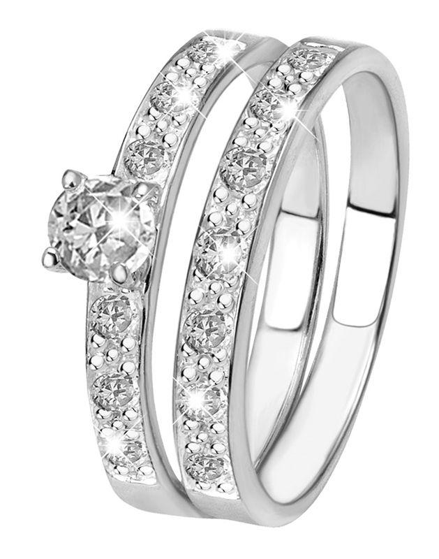 Zilveren dubbele ring met zirkonia | Lucardi.nl | Lucardi.nl