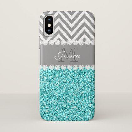 Custom Aqua Glitter Gray Chevron Monogram Initial iPhone X Case - glitter gifts personalize gift ideas unique