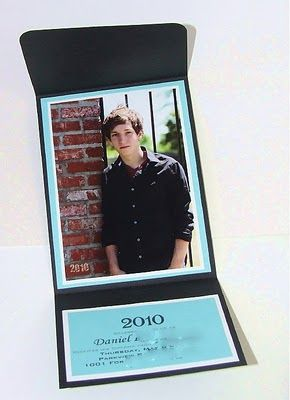 DIY Graduation Invitations (or announcements) This is very simple, elegant and can be as fun or fancy as you want. I really like this layout. Visit that site to see more pictures of the front, with some nifty embossing on the front. LOVE IT!