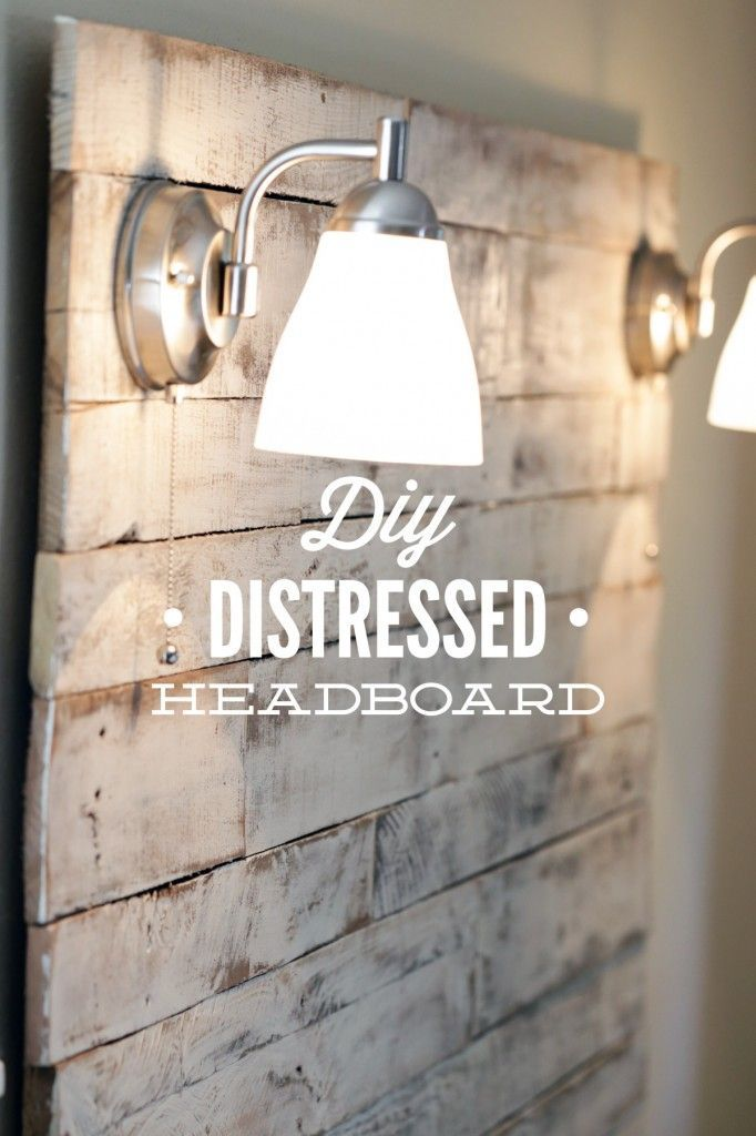 How to make an easy weekend DIY Distressed Headboard from salvaged wood pallets. Gorgeous, shabby-chic headboard with step-by-step tutorial instructions and pictures!