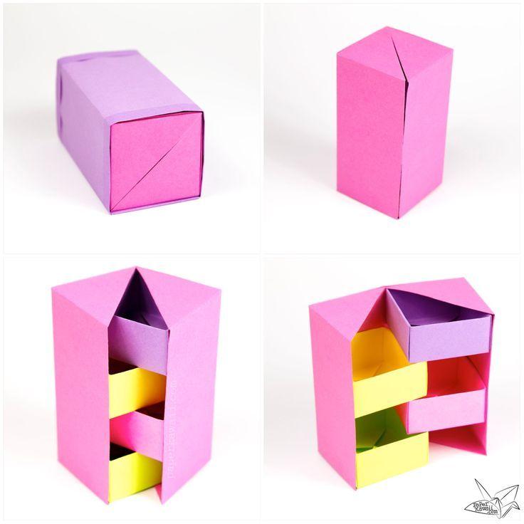 Dieser nützliche Origami-Boxenteiler ist diagonal wie ein X, anstatt Quadrate, die Sie ge