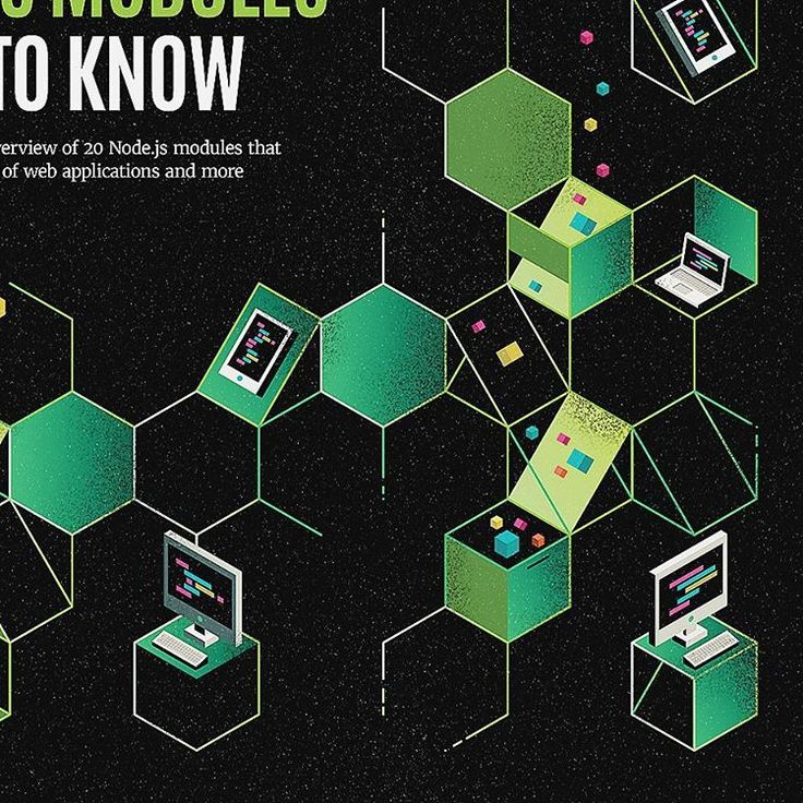 In this month's issue of Net Magazine - my Illustration for an article about node.js modules.  AD: Rebecca Shaw / Future Publishing  #illustration #webdesign #design #editorial #node #nodejs #modules #isometric #green #coding #javascript #illustrator #adobe #framework #web #net #netmag #netmagazine #magazine