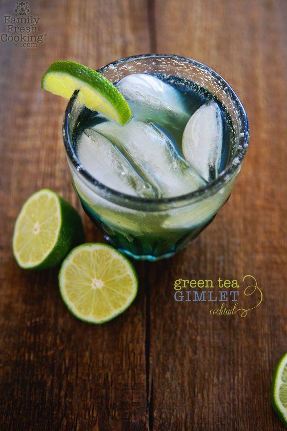 Green Tea Gimlet Cocktail - MarlaMeridith.com