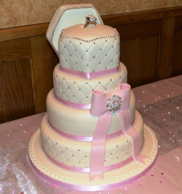 Stunning for tier engagement ring box cake