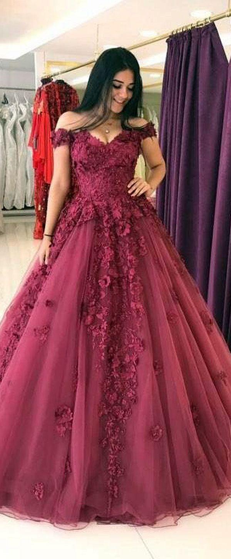 Ball gown offtheshoulder court train dark red tulle prom dress