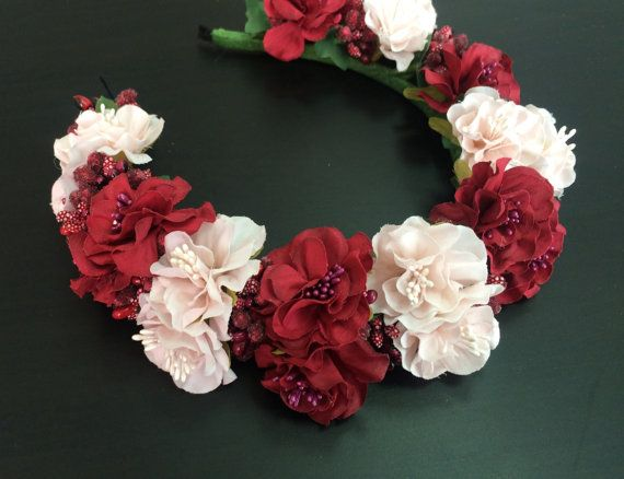 Romantic Flower Crown Blush Pink&Red Frida by FloweredHairBoutiqie