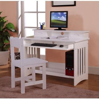 shop for white wood writing desk with keyboard tray get free delivery at overstock - White Desk