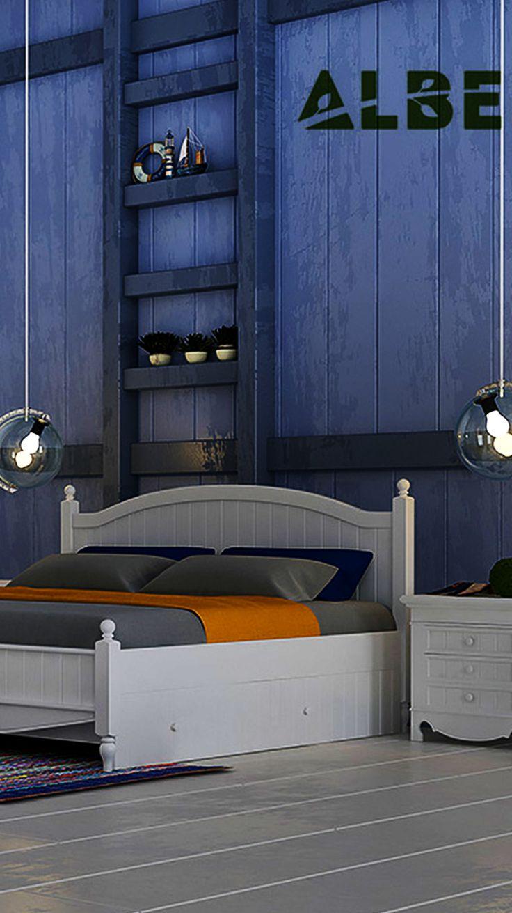 Белая деревянная кровать Корсика ТМ Албена в интерьере спальни в стиле Кантри или Лофт