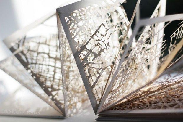 Runjing Wang est un illustrateur chinois. Depuis quelques temps, il se concentre sur la représentation et l'illustration graphique que peuvent exprimer les plans des villes.  Dans ce livre « Capital cities », les centres-villes de grandes capitales sont représentés, découpés et accumulés, pour former une dentelle esthétique et aléatoire.  Une vraie prouesse technique pour ce livre qui devient une oeuvre d'art.