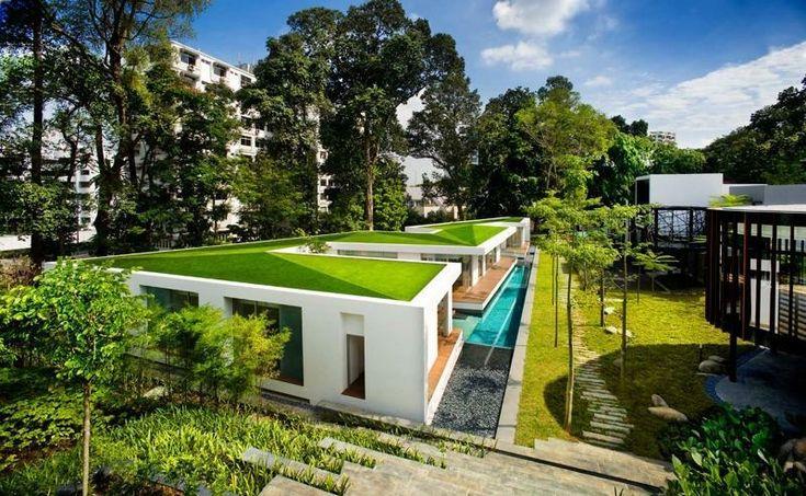 Moderne Villa mit grünem Dach