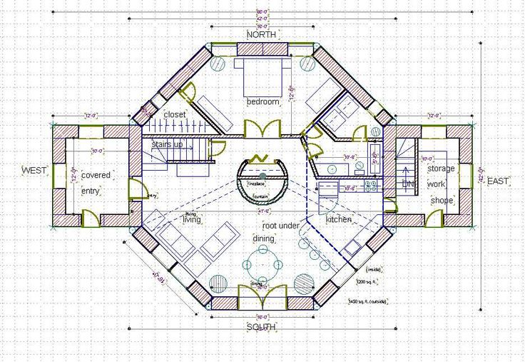 Straw bale house plan 1800 sq ft ground level home for Octagon cabin floor plans