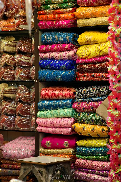 Colorful Sari Shop in Old Delhi.