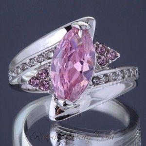 Ladies Gold Filled Ring 7US Pink Topaz CZ
