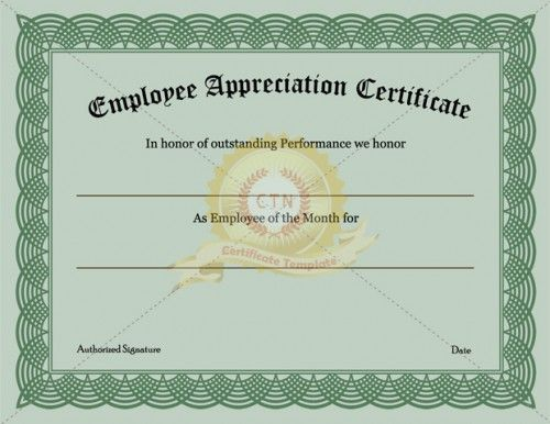 21 best images about appreciation certificate on pinterest for Employee of the month certificate template free download