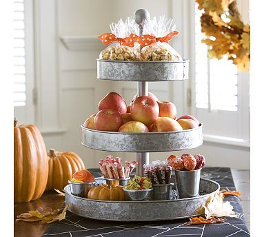 @Jen Sullivan - look!!!!: Trays, Serving Pieces, Fall Parties, Fall Ideas, Galvanized Metals, Tiered Stands, Fall Treats, Fall Theme, Pottery Barns