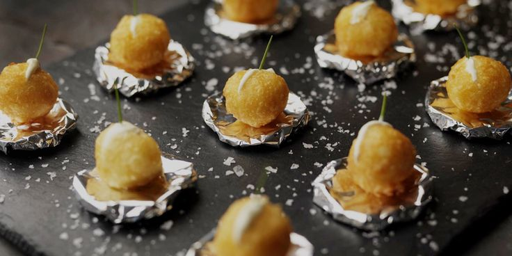 These beautiful canapés are a formed from rich mashed potato and choux paste, combined to make gloriously light and crispy potato puffs